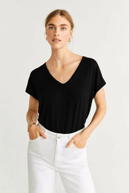 Women's Black V Neck T-Shirt 53053731