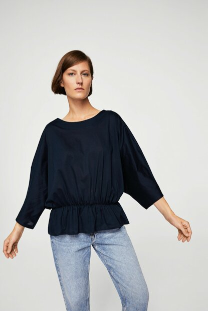 Women's Dark Blue Ruffle Detailed T-Shirt 13017687