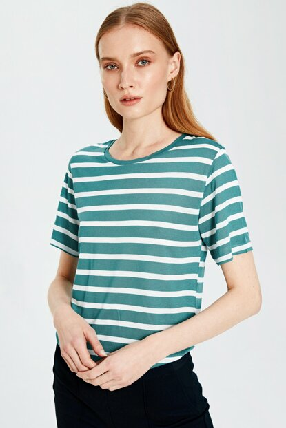 Women's Green Striped T-shirt 9WQ338Z8