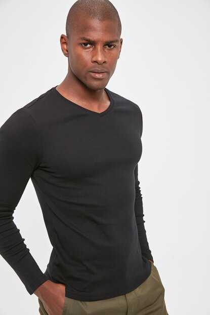 Black Mens V Neck Ribana Fabric Basic Long Sleeve New T-Shirt TMNAW20TS0247