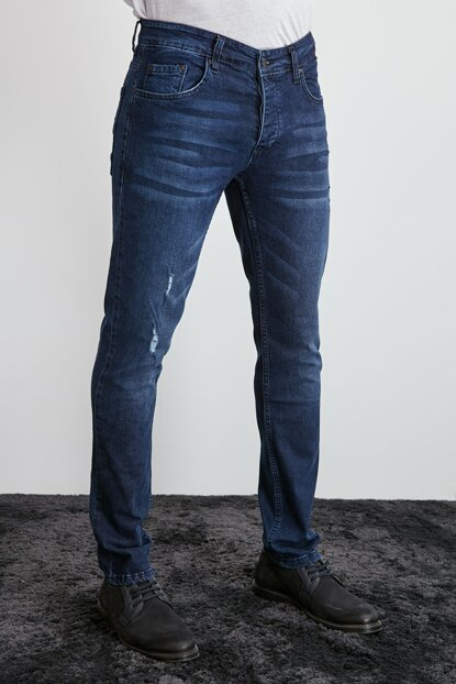 Men's Indigo Slim Fit Ripped Detail Jeans TMNAW20JE0400