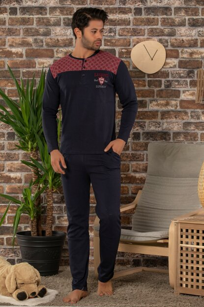 Men's Navy Blue Cotton Long Sleeve Interlock Sleepwear Suit 22506