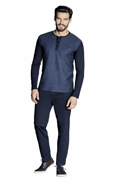 Men's Dark Blue Sleeve Pajama Set 5377 P50246S4449