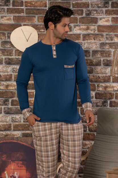 Men's Blue Printed Cotton Lycra Sleepwear Suit 2462
