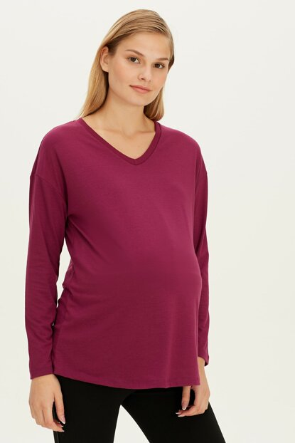 Women Purple Hlu Maternity Wear T-Shirt 9W6778Z8