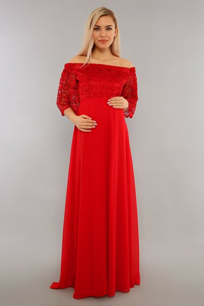 Low Shoulder Lace Maternity Dress Red ML010500X