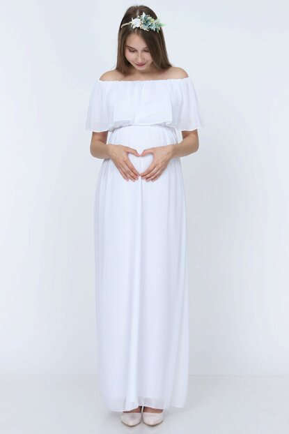Chiffon Low Shoulder Maternity Dress White ML010400X