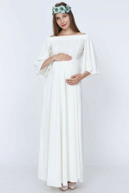 Low Shoulder Velvet Maternity Dress White ML010900X