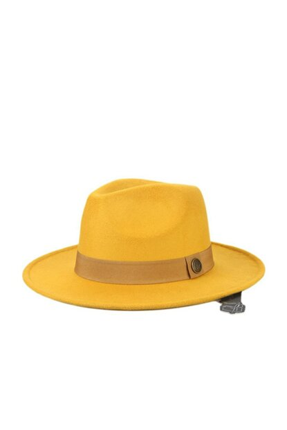 Yellow Panama Fedora Trilby Classic Hat COSMOOUT1312