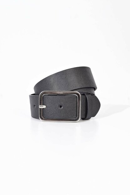 Women's Black Silver Rectangle Buckle Belt K368 ADX-0000020491