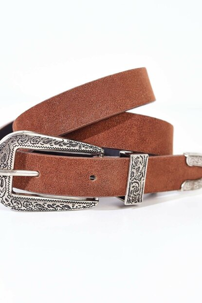 Women's Buckle Detailed Suede Belt K373 - A13 ADX-0000020496