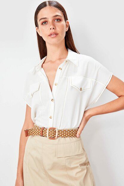 Taba White Mesh Belt TWOSS19PL0044