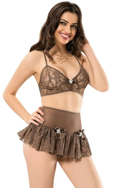Women's Mink Tulle Short Nightgown I-MO-1044