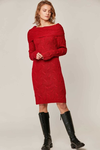 Women's Red Wide Neck Sweater Tunic 3362 Y19W126-3362