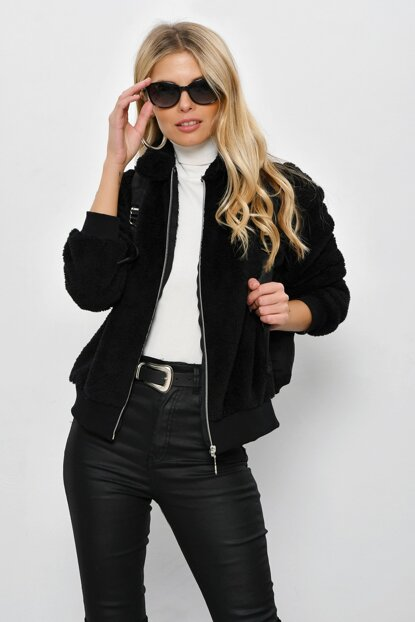 Women's Black Zippered Shirt Collar Plush Jacket YLF103