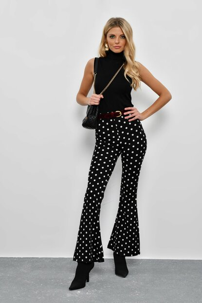 Women's Black Polka Dot Spanish Hem Trousers KSD401