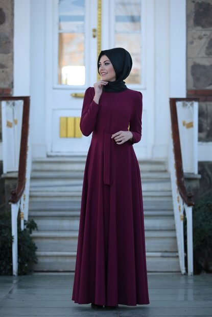 Belted Hijab Dress LVNZ4550