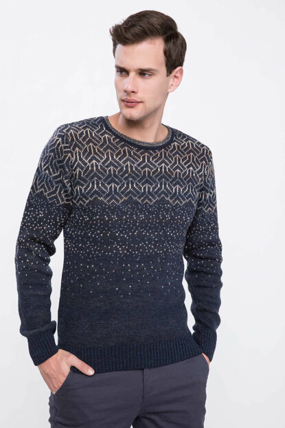 Men's Jacquard Patterned Sweater Pullover J8587AZ.18WN.NV64