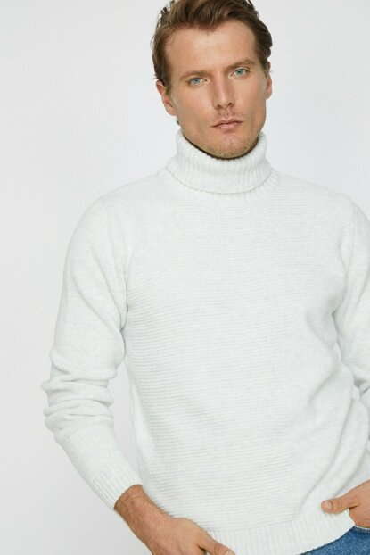 Men's Gray Turtleneck Sweater 0KAM91282GT