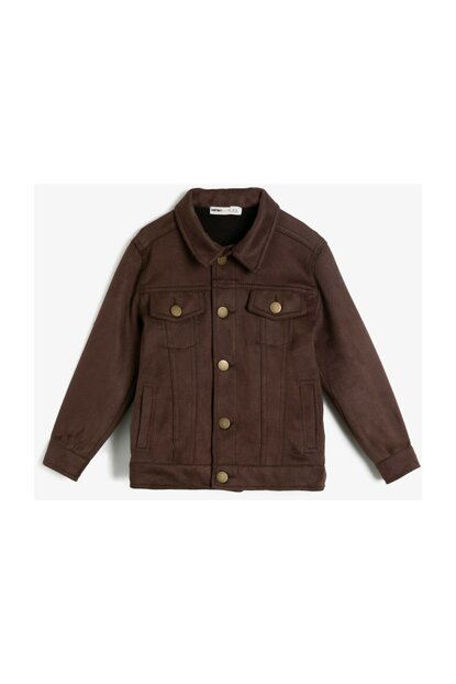 Brown Kids Button Detail Coat 0KKB56161OW