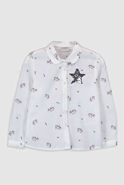 Girl's Ecru Printed Lra Shirt 0S4300Z4