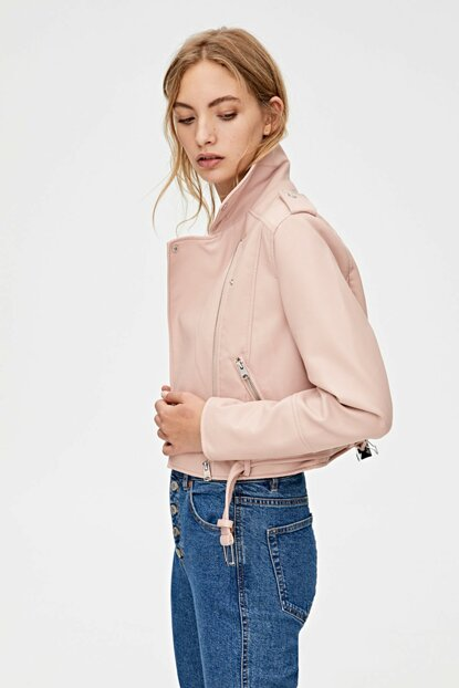 Women Pink Faux Leather Biker Jacket 05710232