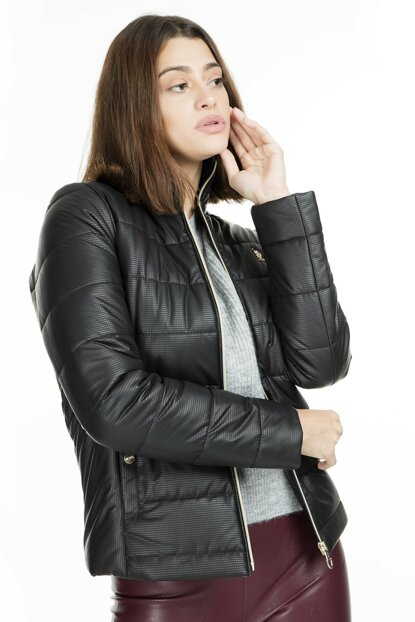 Women's Black Leather Jacket - G082Sz035P01 Wp8050 G082SZ035P01 WP8050