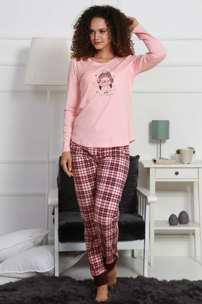 Women's Baby Pink Long Sleeve Pajama Set 9032943030 Y19W137-9032943030