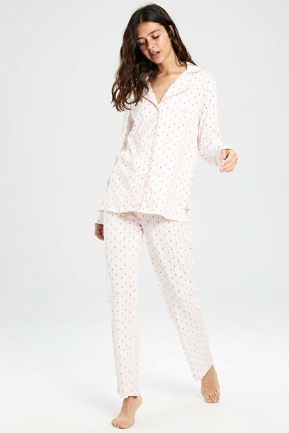 Women's Light Pink Print Pajama Set 9W9512Z8