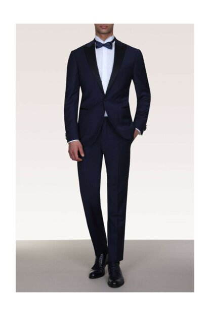 Slim Fit Pleated Double Breasted Lapel Tuxedo Suit - KP10079036