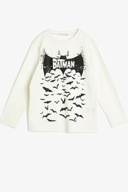 Ecru Boy Batman Licensed Printed T-Shirt 0YKB16763OK