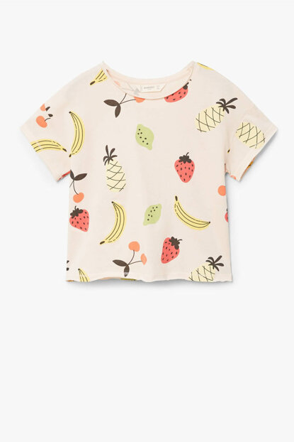 Light Pink Girls Kids Fruit printed T-Shirt 33000647