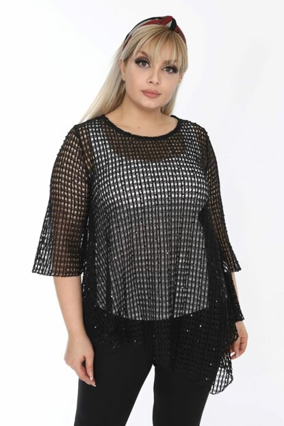 Women's Black Asymmetrical Cut Fishnet Blouse ZB012