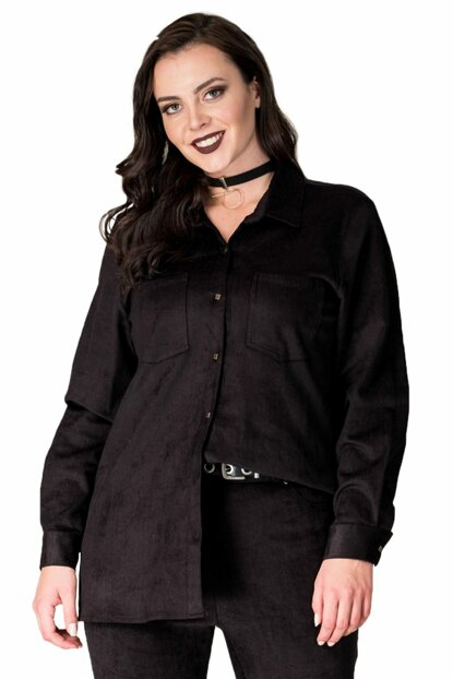 Women's Black Wick Corduroy Shirt P9648