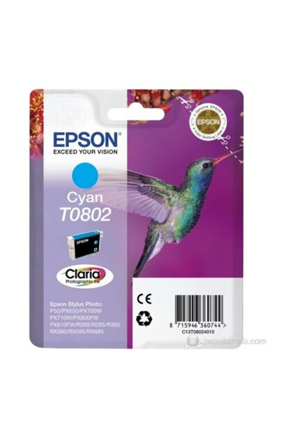 C13t08024021 / T0802 Ink Cartridge Blue For Epson C13T08024021