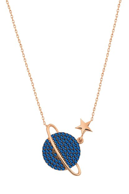 Navy Blue; Stony Planet Necklace Rose Gold Plated 925 Sterling Silver Women Necklace UVPS100183