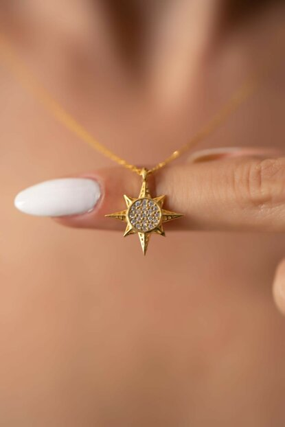 Women Pole Star Model Gold Plated Silver Necklace PKT-İZLASLVR00694