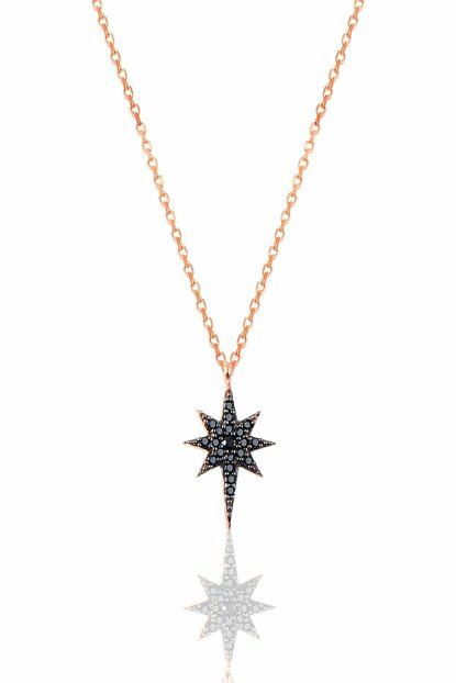 Women's Silver Black Zirkon Pole Star Necklace SGTL9569