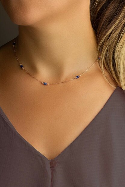 Women's Chain Navy Blue Sapphire Necklace - Rose KL-0672
