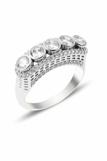 Women's Silver 925 Sterling Zircon Five Stone Ring R87458