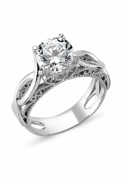 Women's Silver 925 Sterling Zircon Solitaire Ring R82320