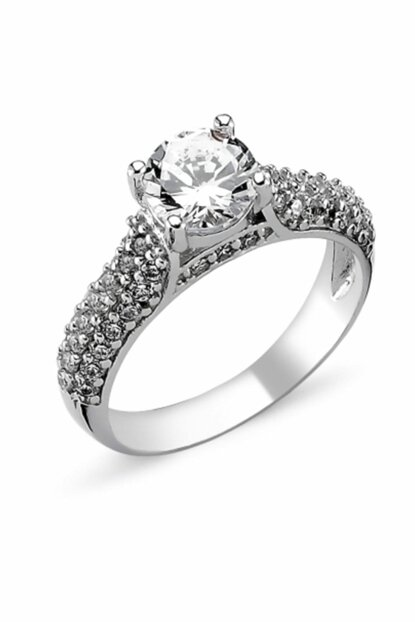 Women's Silver 925 Sterling Zircon Solitaire Ring R82314