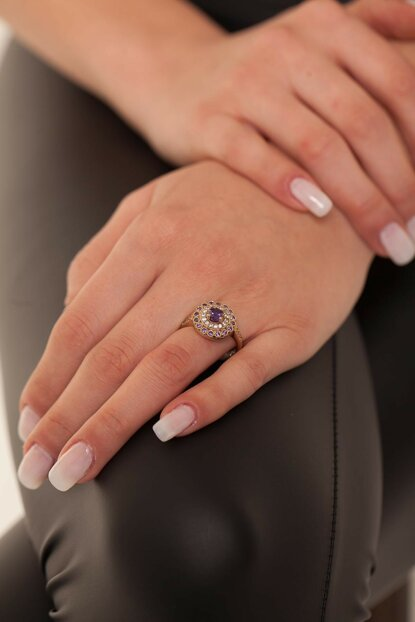 Round Pattern Amethyst Sterling Silver Authentic Ring NNVSLVR03589