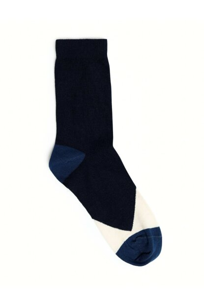 Women's Navy Blue Color Blocky Socks 9KKCR4010X