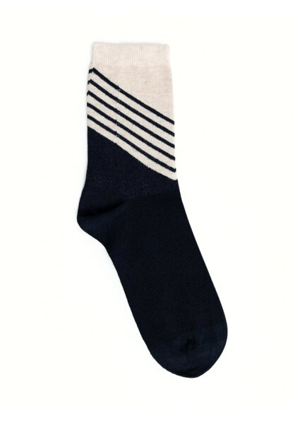 Women's Navy Blue Striped Socks 9KKCR4006X