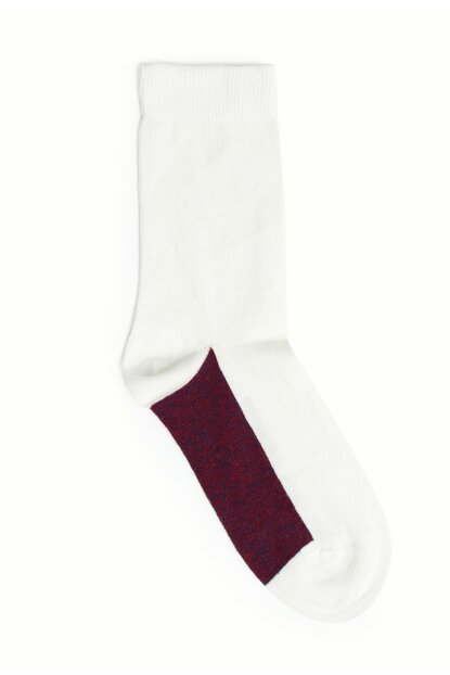 Women's Ecru Color Block Socks 9KKCR4005X