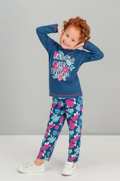 Kindness Flowers Navy Blue Girls Pajamas Set RP1569-C-V1
