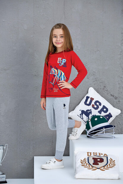 Us Assn Girl's Pajamas Set Red 4-7 Years Old 10585