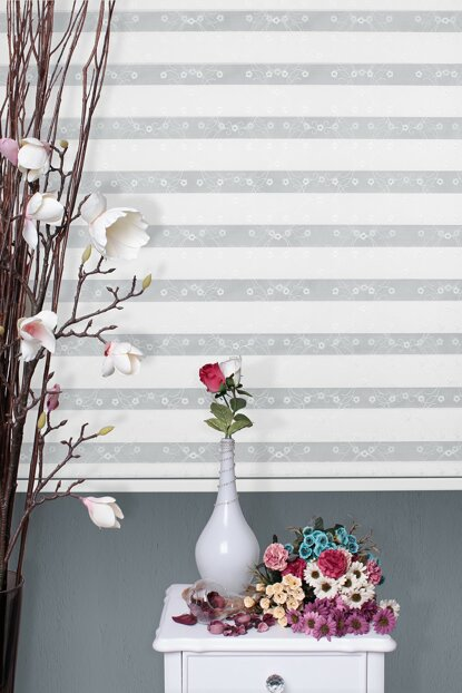 Zebra Roller Blinds Curtain Embroidered + Skirt Slice Gift Z-101V11