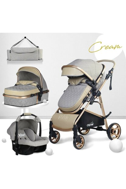 Kiwi City Way 5 in 1 Baby Stroller, Carry Seat, Care Bag, Raincoat - Beige KW-CTY-WY-5-N-1-TK